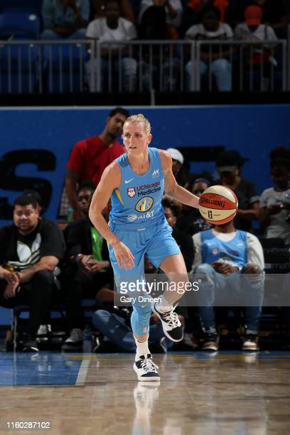 Allie Quigley of the Chicago Sky handles the ball against the New York Liberty on August 7 2019 at the Wintrust Arena in Chicago Illinois NOTE TO...