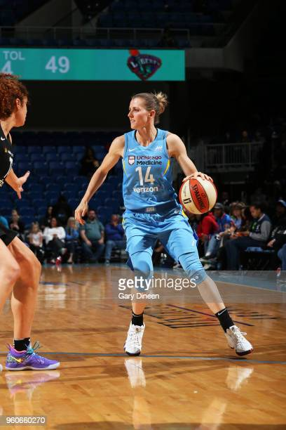 Allie Quigley of the Chicago Sky handles the ball against the New York Liberty on May 6 2018 at the Wintrust Arena in Chicago Illinois NOTE TO USER...