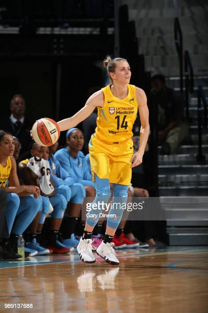 Allie Quigley of the Chicago Sky handles the ball against the New York Liberty on July 1 2018 at Wintrust Arena in Chicago Illinois NOTE TO USER User...