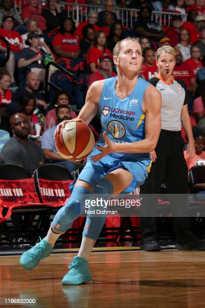Allie Quigley of the Chicago Sky handles the ball against the Washington Mystics on September 8 2019 at the St Elizabeths East Entertainment Sports...