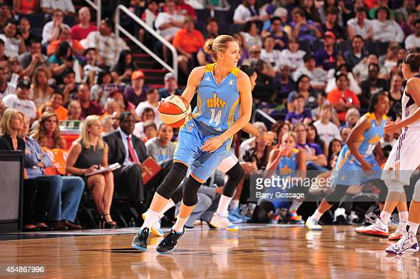 Allie Quigley of the Chicago Sky handles the ball against the Phoenix Mercury in Game 1 of the 2014 WNBA Finals on September 7 2014 at US Airways...