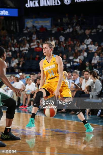 Allie Quigley of the Chicago Sky handles the ball against the Seattle Storm on September 3 2017 at Allstate Arena in Rosemont IL NOTE TO USER User...