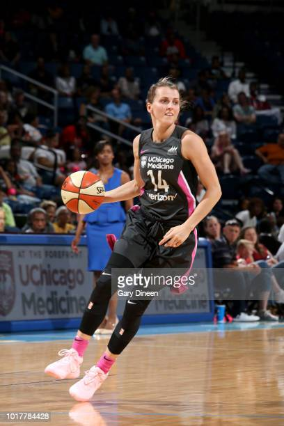 Allie Quigley of the Chicago Sky handles the ball against the Connecticut Sun on August 10 2018 at the Allstate Arena in Chicago Illinois NOTE TO...