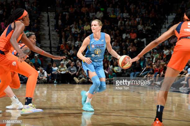 Allie Quigley of the Chicago Sky handles the ball against the Connecticut Sun on September 6 2019 at the Mohegan Sun Arena in Uncasville Connecticut...