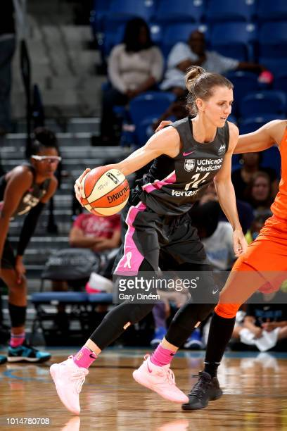 Allie Quigley of the Chicago Sky handles the ball during the game against the Connecticut Sun on August 10 2018 at the Allstate Arena in Chicago...