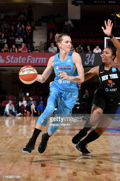 Allie Quigley of the Chicago Sky handles the ball during the game against the New York Liberty on May 8 2019 at the Westchester County Center in...