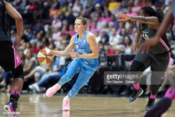 Allie Quigley of the Chicago Sky in action during the Connecticut Sun Vs Chicago Sky WNBA regular season game at Mohegan Sun Arena on August 12 2018...