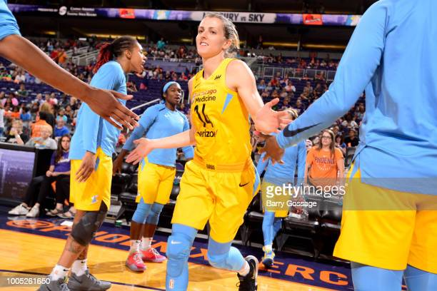 Allie Quigley of the Chicago Sky is introduced before the game against the Phoenix Mercury on July 25 2018 at Talking Stick Resort Arena in Phoenix...