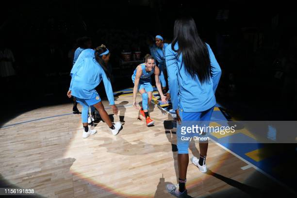 Allie Quigley of the Chicago Sky is introduced prior to a game against the Atlanta Dream on July 17 2019 at the Wintrust Arena in Chicago Illinois...