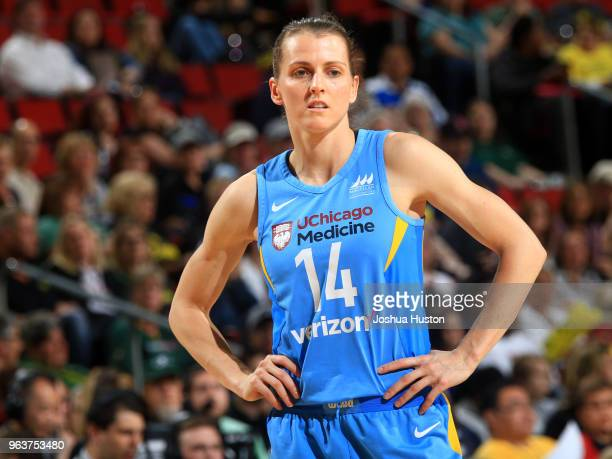 Allie Quigley of the Chicago Sky looks on during the game against the Seattle Storm on May 25 2018 at Key Arena in Seattle Washington NOTE TO USER...