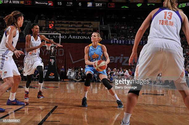 Allie Quigley of the Chicago Sky looks to shoot the ball against the Phoenix Mercury in Game 1 of the 2014 WNBA Finals on September 7 2014 at US...