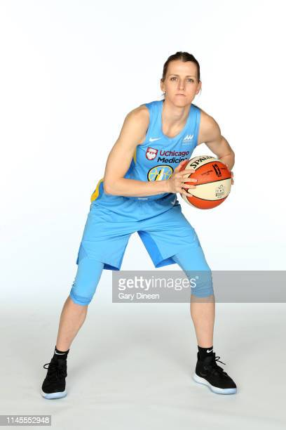Allie Quigley of the Chicago Sky poses for a portrait during 2019 WNBA Chicago Sky Media Day on May 21 2019 at Wintrust Arena in Chicago Illinois...