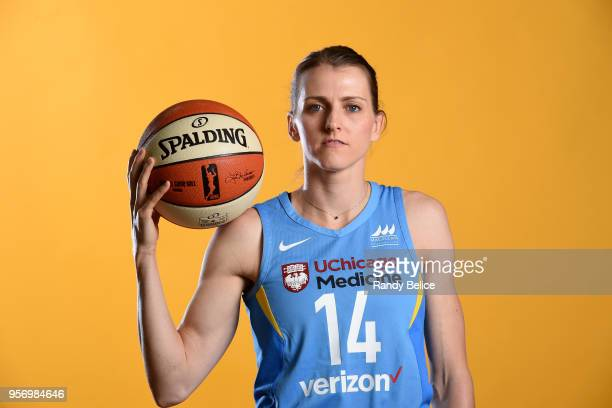 Allie Quigley of the Chicago Sky poses for a portrait during WNBA Media Day 2018 on May 9 2018 at the Sachs Recreation Center in Chicago Illinois...