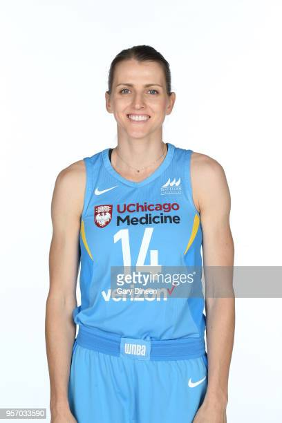 Allie Quigley of the Chicago Sky poses for portrait during WNBA Media Day 2018 on May 9 2018 at the Sachs Recreation Center in Chicago Illinois NOTE...