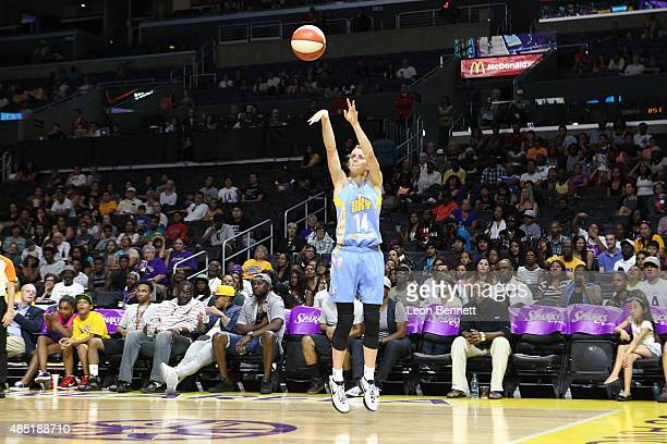 Allie Quigley of the Chicago Sky shoots for two against the Los Angeles Sparks in a WNBA game at Staples Center on August 16 2015 in Los Angeles...