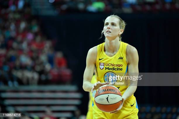Allie Quigley of the Chicago Sky shoots free throws against the Las Vegas Aces on September 15 2019 at the Mandalay Bay Events Center in Las Vegas...