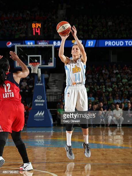 Allie Quigley of the Chicago Sky shoots the ball againast the Washington Mystics on July 15 2015 at the Allstate Arena in Rosemont Illinois NOTE TO...