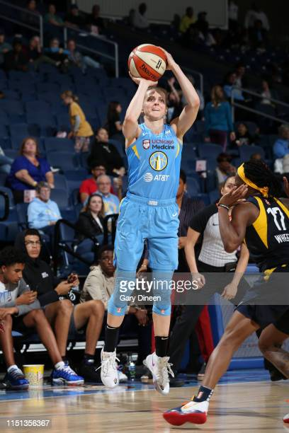 Allie Quigley of the Chicago Sky shoots the ball against the Indiana Fever on June 21 2019 at the Wintrust Arena in Chicago Illinois NOTE TO USER...