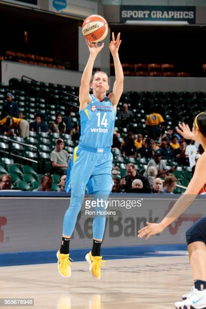 Allie Quigley of the Chicago Sky shoots the ball against the Indiana Fever during a preseason game on May 7 2018 at Bankers Life Fieldhouse in...