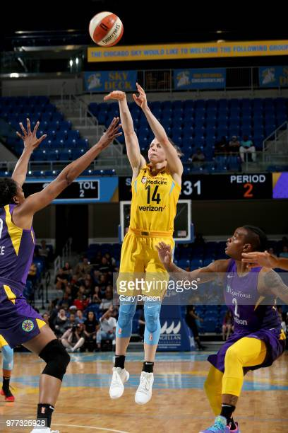 Allie Quigley of the Chicago Sky shoots the ball against the Los Angeles Sparks on June 17 2018 at the Allstate Arena in Rosemont Illinois NOTE TO...