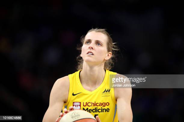 Allie Quigley of the Chicago Sky shoots the ball against the Minnesota Lynx on August 14 2018 at Target Center in Minneapolis Minnesota NOTE TO USER...