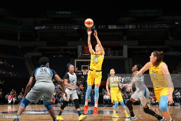 Allie Quigley of the Chicago Sky shoots the ball against the Minnesota Lynx on August 27 2019 at the Target Center in Minneapolis Minnesota NOTE TO...