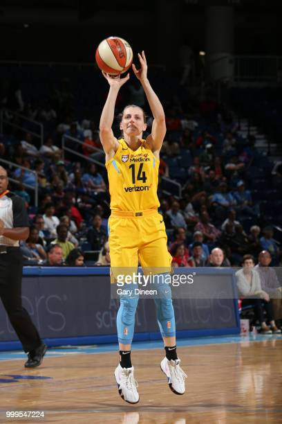 Allie Quigley of the Chicago Sky shoots the ball against the Minnesota Lynx on July 07 2018 at the Wintrust Arena in Chicago Illinois NOTE TO USER...