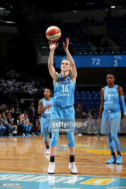 Allie Quigley of the Chicago Sky shoots the ball against the New York Liberty on May 6 2018 at the Wintrust Arena in Chicago Illinois NOTE TO USER...