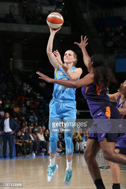 Allie Quigley of the Chicago Sky shoots the ball against the Phoenix Mercury during Round One of the WNBA Playoffs on September 11 2019 at Wintrust...