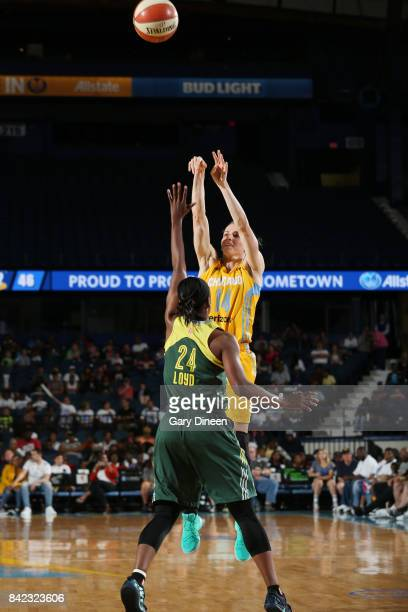 Allie Quigley of the Chicago Sky shoots the ball against the Seattle Storm on September 3 2017 at Allstate Arena in Rosemont IL NOTE TO USER User...