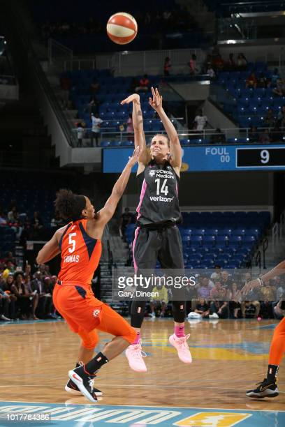 Allie Quigley of the Chicago Sky shoots the ball against the Connecticut Sun on August 10 2018 at the Allstate Arena in Chicago Illinois NOTE TO USER...