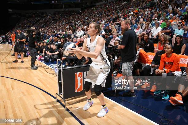 Allie Quigley of the Chicago Sky shoots the ball during the ThreePoint Contest during halftime during the Verizon WNBA AllStar Game 2018 on July 28...