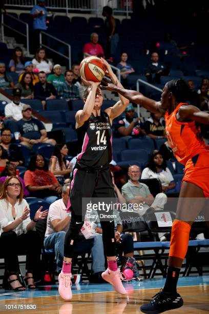 Allie Quigley of the Chicago Sky shoots the ball during the game against the Connecticut Sun on August 10 2018 at the Allstate Arena in Chicago...