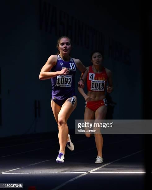 Allie Schadler of the Washington Huskies finishes the women's one mile run at Dempsey Indoor Center on February 15 2019 in Seattle Washington