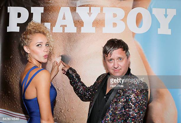 Allie Silva and fashion designer Andrew Clancey celebrate the release of Playboy magazine's 'The Freedom Issue' at No Vacancy on June 23 2016 in Los...