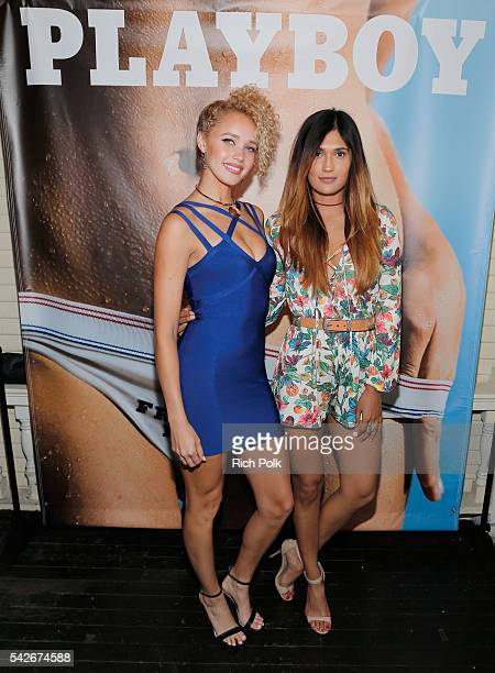 Allie Silva and Shafia West celebrate the release of Playboy magazine's 'The Freedom Issue' at No Vacancy on June 23 2016 in Los Angeles California