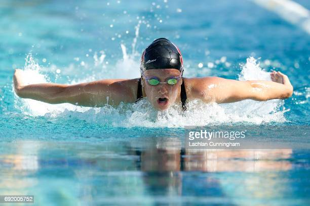 Allie Szekely swims in the 400m individual medley final during Day 3 of the 2017 Arena Pro Swim Series Santa Clara at George F Haines International...