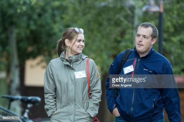 Allie Turner and Nat Turner cofounder of Flatiron Health arrive for a morning session of the annual Allen Company Sun Valley Conference July 11 2018...