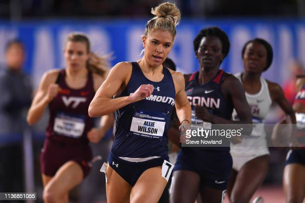 Allie Wilson of the Monmouth Hawks competes in the 800 meter run during the Division I Men'u2019s and Women'u2019s Indoor Track Field Championship...