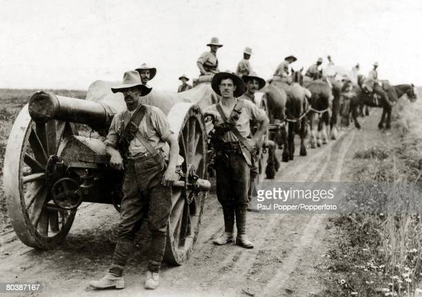Allied heavy artillery in Salonika during World War I circa 1915