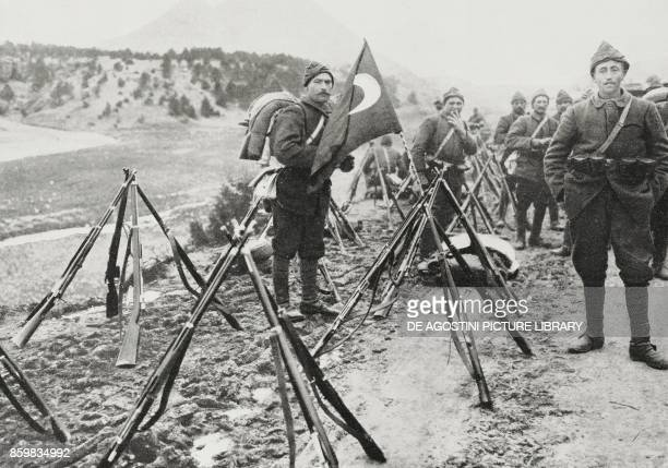 Allied infantry column encamped on the peninsula of Gallipoli countryside of Gallipoli Turkey World War I photo by Agostino from L'Illustrazione...