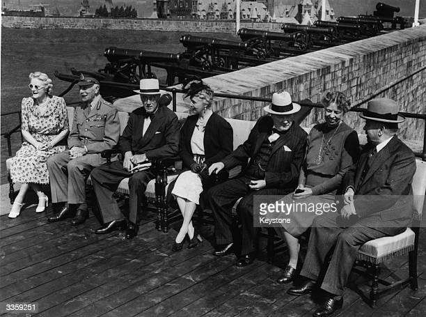 Allied leaders and their wives sitting together in Quebec ; Clementine Churchill , Governor General of Canada the Earl of Athlone , American...