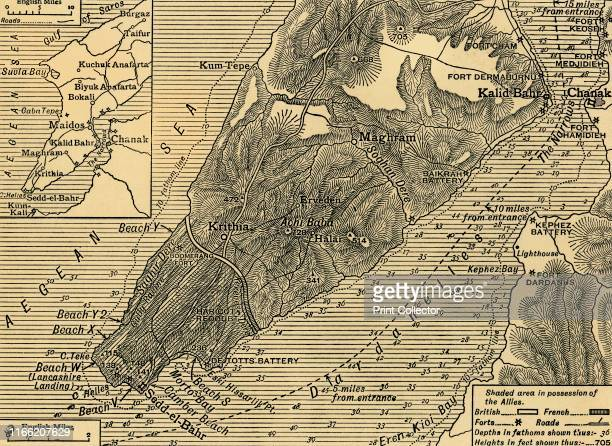Allied positions on the Gallipoli peninsula in Turkey First World War July 1915 'The Operations in the Southern Area of Gallipoli Map showing...
