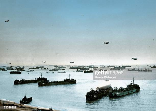 Allied ships boats and barrage balloons off Omaha Beach after the successful DDay invasion CollevillesurMer Normandy France 9th June 1944