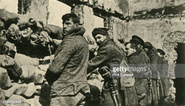 Allied soldiers in Flanders First World War 'Ready for the Germans Holding one of the fortified houses along the British Front' From The Great World...