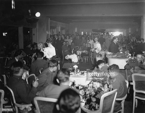 Allied soldiers in the Femina nightclub in Berlin