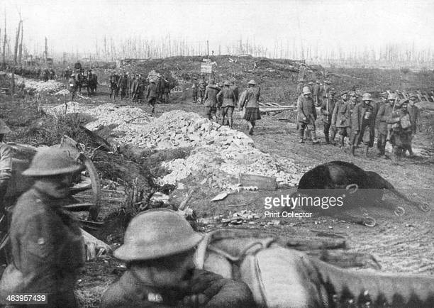Allied troops and German prisoners at the Menin Road near Ypres Belgium 30 October 1917 The Menin Road was the main road leading east out of Ypres...