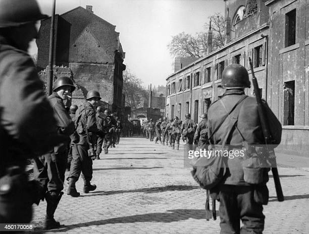 Allied troops are shown entering the city of Mayence on March 30 1945 by the end of World War II AFP PHOTO