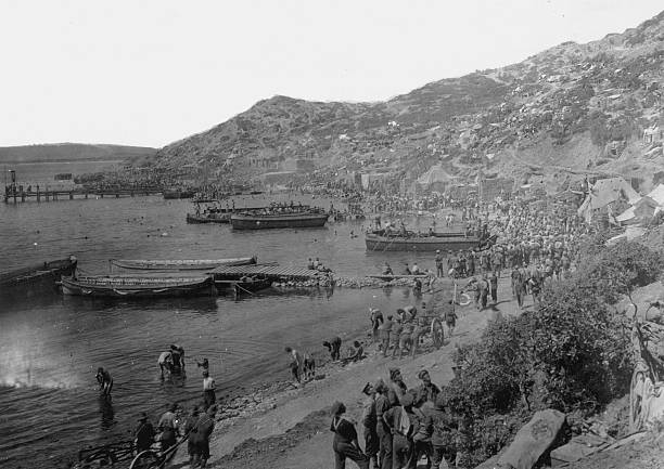 Allied troops at Anzac Cove, Gallipoli Peninsula, during...