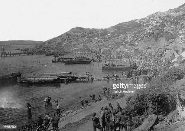 Allied troops at Anzac Cove Gallipoli Peninsula during the Gallipoli campaign